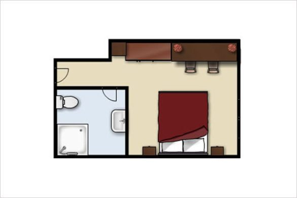 Grundriss - Doppelzimmer im Apparthotel Kirchgasser